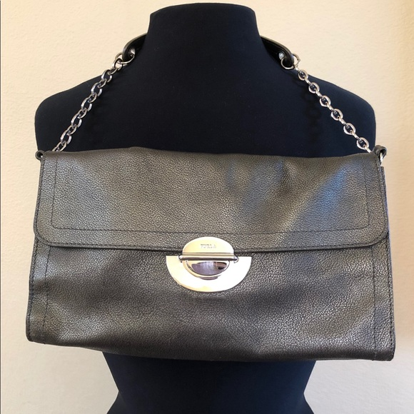 e1c58e429 Furla Bags | Gunmetal Shoulder Clutch Bag | Poshmark